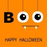 Gelukkig Halloween De hangende van de tekstoogappels van het woordboe-geroep bloedige aders Griezelige hoektandentand De draad va vector illustratie