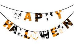 Gelukkig Halloween die kleurrijke teksten op de witte achtergrond hangen stock illustratie