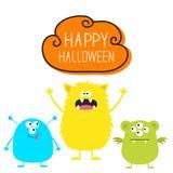 Gelukkig Halloween Drie kleurrijke monsterreeks Hoofdgezicht Leuk beeldverhaal eng karakter Babyinzameling Ogen, tonghoornen Witt vector illustratie