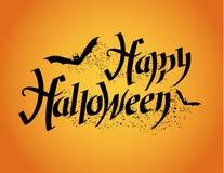 Gelukkig Halloween Halloween-affiche met hand het van letters voorzien Stock Afbeeldingen