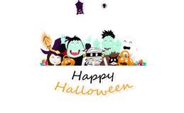 Gelukkig Halloween, het document van de verrassingspartij kunst, beeldverhaalkarakter voor jonge geitjes, de affiche van het vier stock illustratie