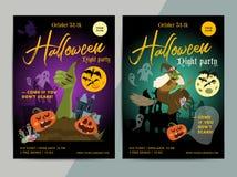 Gelukkig Halloween-het malplaatjeontwerp van de partijaffiche Allen zegenen vooravondvlieg stock illustratie