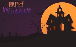 Gelukkig Halloween-Kaartmalplaatje, Mengeling, Maan en Kasteel, Vectorillustratie Royalty-vrije Stock Foto's