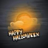 Gelukkig Halloween-Kaartmalplaatje - Vliegende Spoken over Autumn Fog Royalty-vrije Stock Foto's