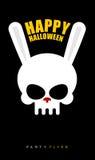Gelukkig Halloween Konijnschedel op zwarte achtergrond Partijvlieger stock illustratie