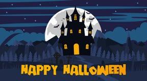 Gelukkig Halloween-landschap Royalty-vrije Stock Afbeeldingen