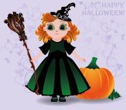 Gelukkig Halloween Leuk weinig heks en pompoenachtergrond Stock Foto