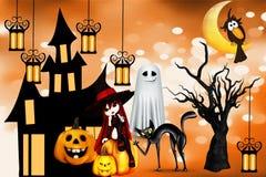 Gelukkig Halloween liet deze dag goed geluk brengen stock illustratie