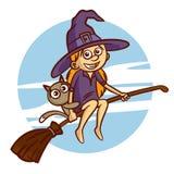 Gelukkig Halloween Meisje in heksenkostuum die op bezemsteel vliegen Stock Foto's