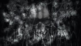 Gelukkig Halloween Menselijke Schedel met Rook en Brand het 3D Teruggeven Royalty-vrije Stock Afbeelding