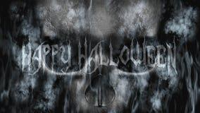 Gelukkig Halloween Menselijke Schedel met Rook en Brand het 3D Teruggeven Stock Afbeelding