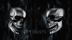 Gelukkig Halloween Menselijke Schedel met Rook en Brand het 3D Teruggeven Royalty-vrije Stock Fotografie