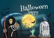 Gelukkig Halloween met dood en begraafplaats stock illustratie