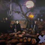 Gelukkig Halloween met dood en begraafplaats Halloween-groet royalty-vrije illustratie