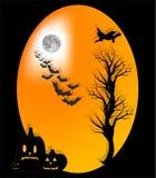 Gelukkig Halloween met maansinaasappel Stock Afbeeldingen