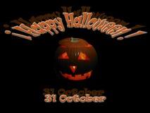 Gelukkig Halloween met pompoen en datum stock illustratie
