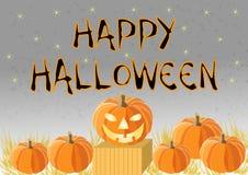 Gelukkig Halloween met pompoenen Stock Afbeelding