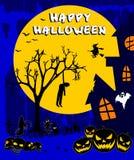 Gelukkig Halloween met pompoenen op een blauwe achtergrond Royalty-vrije Stock Foto's