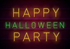 Gelukkig Halloween-neon stock illustratie