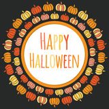Gelukkig Halloween om kader met kleurrijke pompoenen Royalty-vrije Stock Foto's