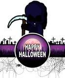 Gelukkig Halloween-Ontwerpmalplaatje met Donkere maaimachine/Dood Royalty-vrije Stock Afbeeldingen