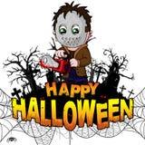 Gelukkig Halloween-Ontwerpmalplaatje met moordenaar op wit geïsoleerde achtergrond royalty-vrije illustratie