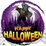 Gelukkig Halloween-Ontwerpmalplaatje met weerwolf vector illustratie