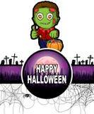 Gelukkig Halloween-Ontwerpmalplaatje met Zombie Stock Foto's