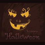 Gelukkig Halloween pompoen op een donkere achtergrond, A grijnzende Jack O Stock Foto