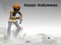 Gelukkig Halloween, pompoenhefboom, mistig bos. vector illustratie