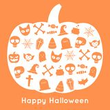 Gelukkig Halloween-pompoenkaart en pictogram royalty-vrije illustratie