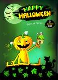 Gelukkig Halloween, pompoenmeisje met Cake, groene achtergrond stock afbeeldingen