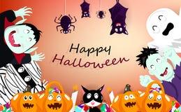 Gelukkig Halloween, vieringspartij, vampier, pompoen, brij, katten, griezelig, knuppels, spin en leuke het festivalaffiche van he vector illustratie