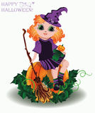 Gelukkig Halloween Weinig heks en pompoenpop Stock Afbeelding
