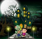 Gelukkig Halloween-zombiebeeldverhaal voor het spookhuis met volle maanachtergrond stock illustratie
