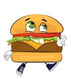 Gelukkig hamburgerbeeldverhaal Stock Afbeelding