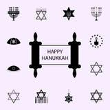 gelukkig hanukkah torah pictogram Voor Web wordt geplaatst dat en het mobiele algemene begrip van Chanoekapictogrammen stock illustratie