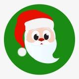 Gelukkig het gezichtsportret van Santa Claus Pictogram op groene cirkelachtergrond die wordt geïsoleerd Rode Kerstmishoed en witt Stock Afbeeldingen