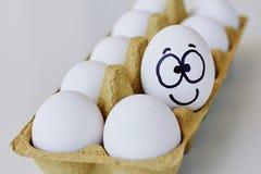 Gelukkig het glimlachen ei in een kartondoos stock foto