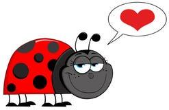 Gelukkig het grijnzen lieveheersbeestje in liefde Stock Fotografie
