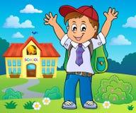 Gelukkig het themabeeld 4 van de leerlingsjongen royalty-vrije illustratie