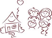 Gelukkig Huis en Gelukkige Familie Stock Afbeeldingen