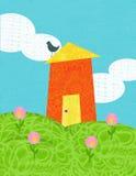 Gelukkig huis op de heuvel Stock Afbeeldingen