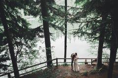 Gelukkig huwelijkspaar die in een botanisch park lopen royalty-vrije stock foto