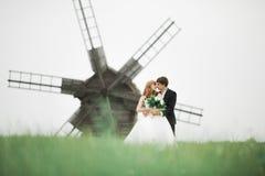 Gelukkig huwelijkspaar die in een botanisch park lopen royalty-vrije stock fotografie