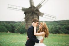 Gelukkig huwelijkspaar die in een botanisch park lopen stock afbeeldingen