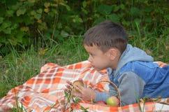 Gelukkig jong geitje die vruchten eten gelukkige leuke kindjongen die een appel eten ligt op een sprei in een de herfstpark stock foto