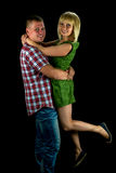 Gelukkig jong paar in de foto van de liefdestudio Stock Fotografie