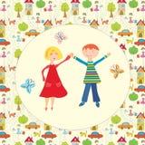 Gelukkig jongen en meisje samen Royalty-vrije Stock Afbeeldingen