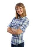 Gelukkig Kaukasisch meisje in overhemd en jeans het glimlachen Stock Afbeelding